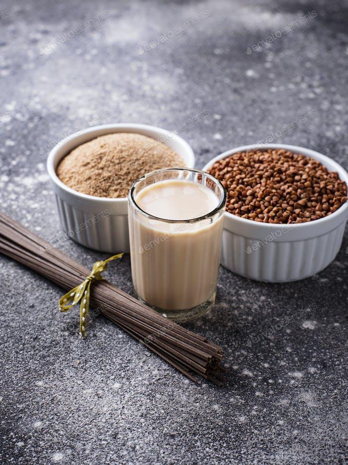 Gluten free buckwheat flour, soba noodle and non-dairy milk