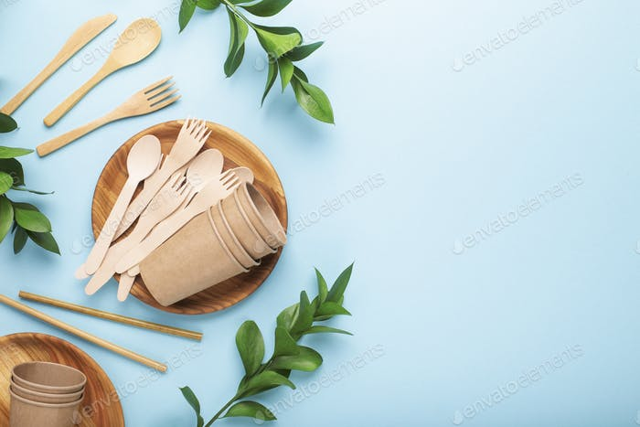 Eco-friendly picnic cutlery tools. Reusable use concept