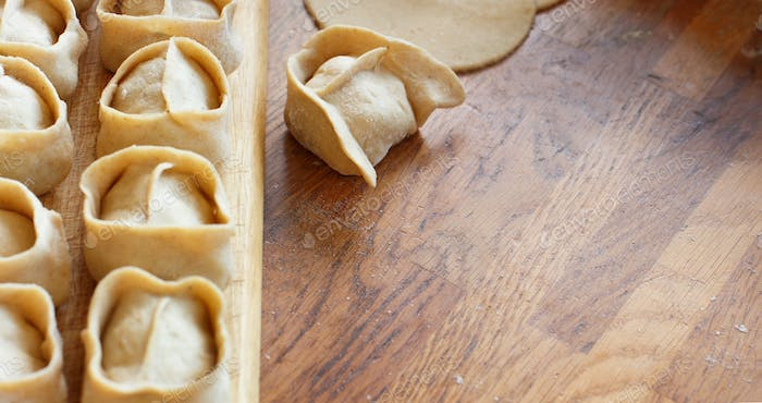 Preparation of dumplings manti