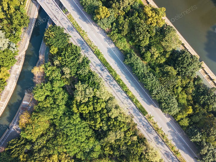 Top view of road