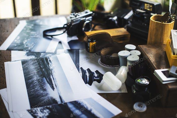 Closeup of retro film camera