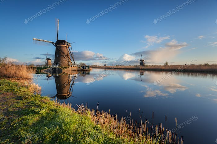 Landscape with beautiful traditional dutch windmills at sunrise