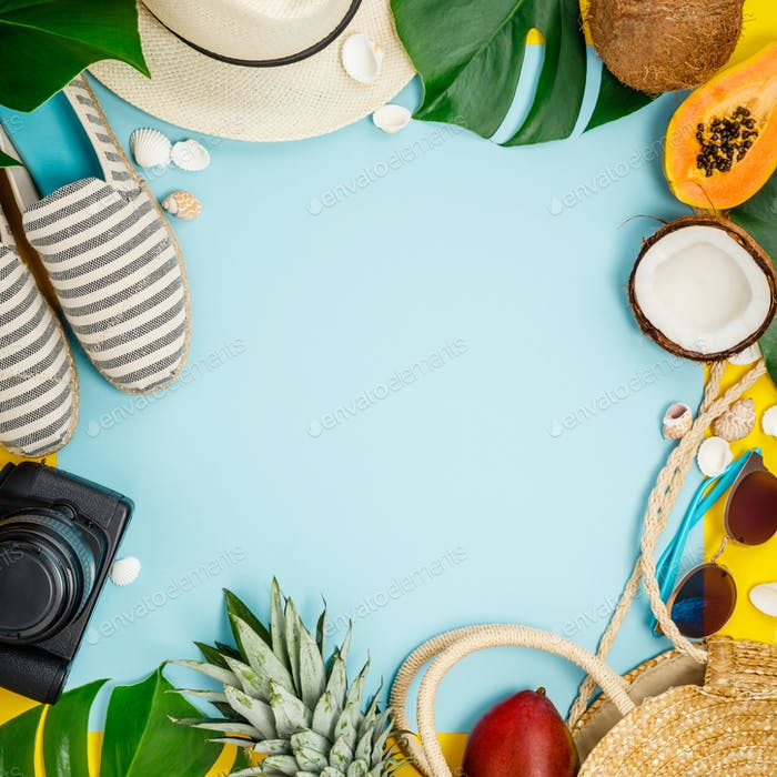 Colorful summer flat-lay