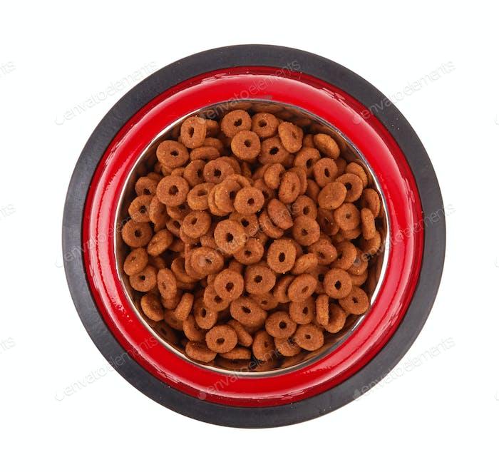 Pet food in bowl.