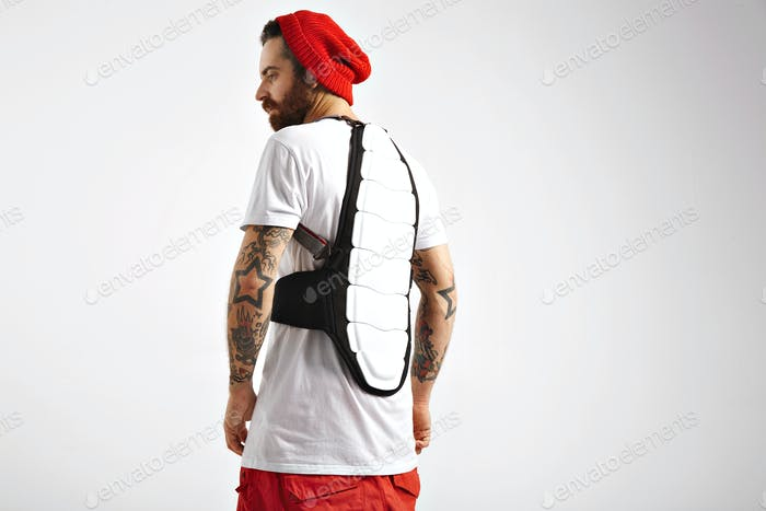 snowboarder wearing back protector