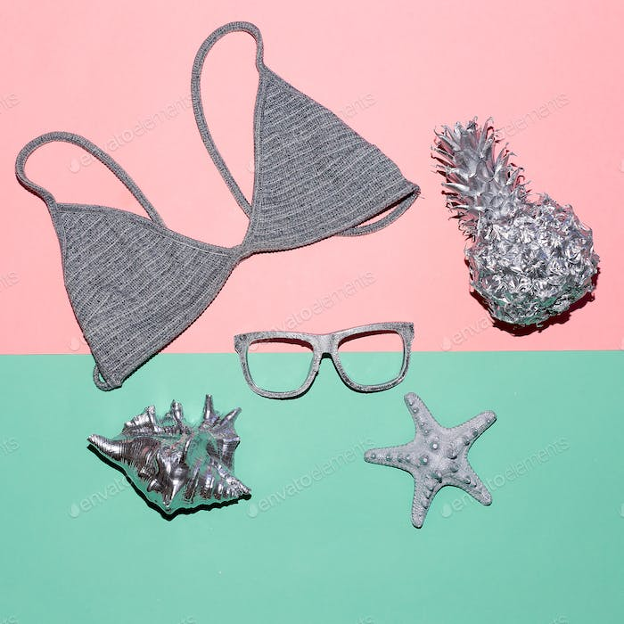Swimsuit top and glasses Summer Vacation time
