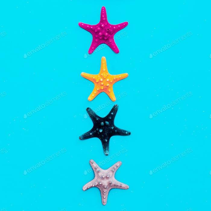 Set of sea stars. Beach style. Minimal art