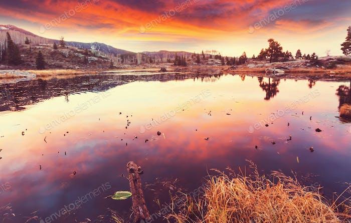Lake on sunset
