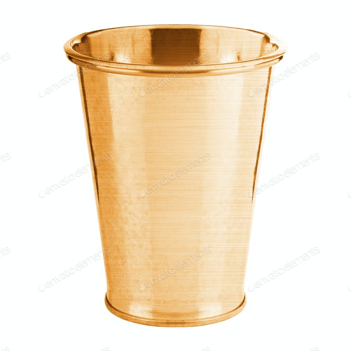 golden bucket isolated on white background