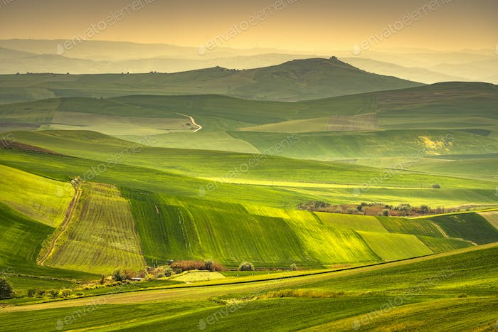 Apulia countryside view rolling hills landscape. Poggiorsini, It