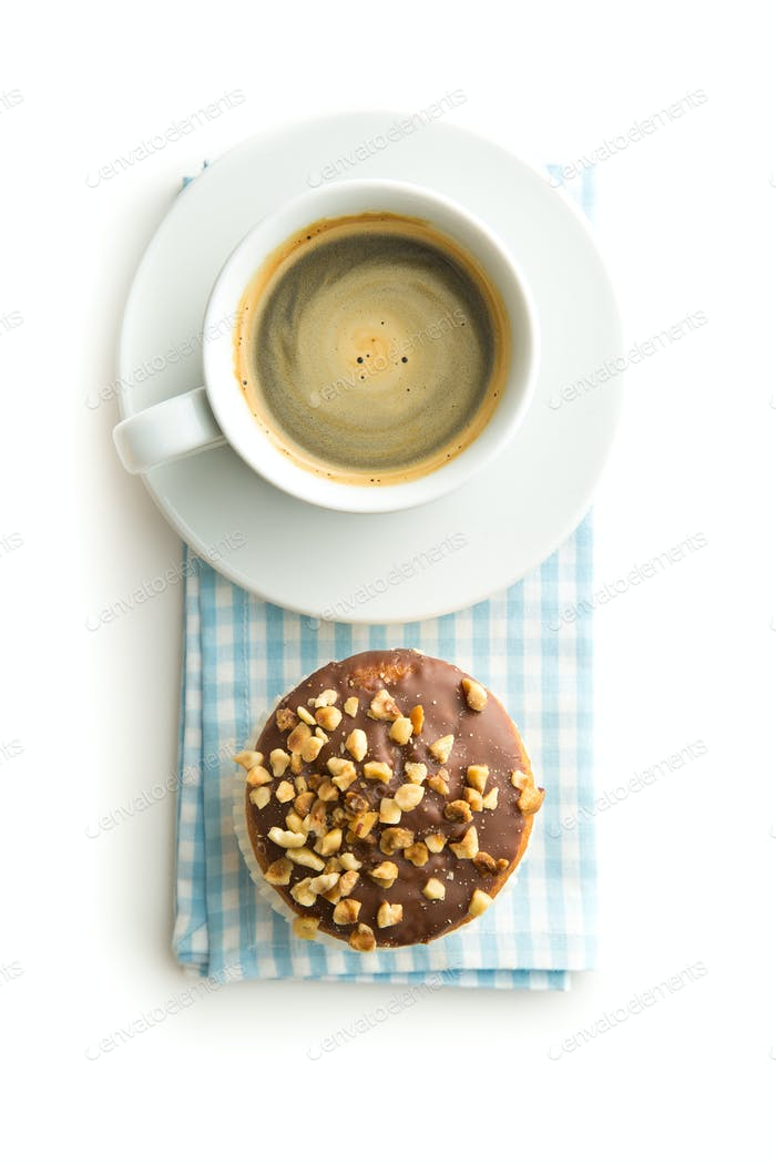 Sweet hazelnut muffins and coffee cup.
