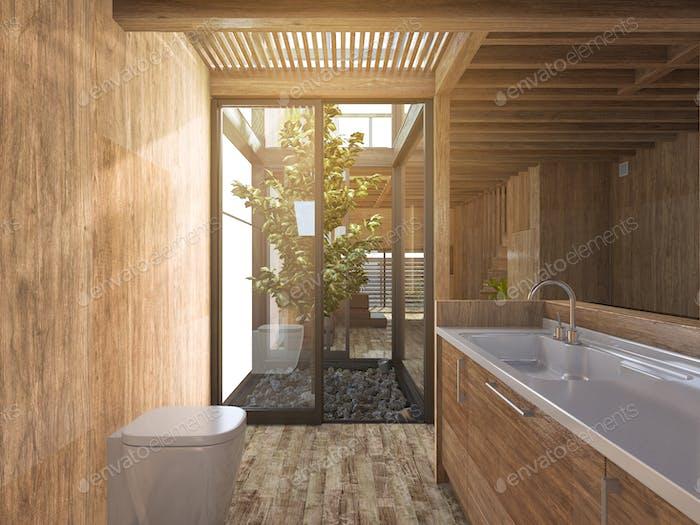 3d rendering wood bathroom near japanese zen rock garden in wood house