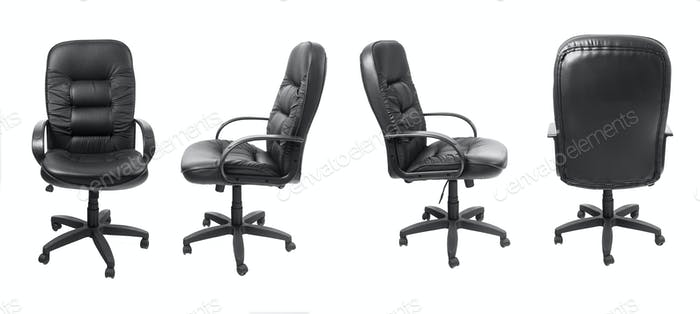 Different views of black office leather chair