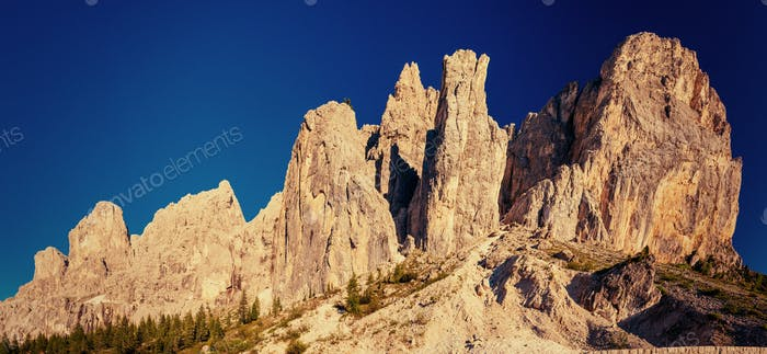 Rocky Mountains at sunset. Dolomite Alps, Italy
