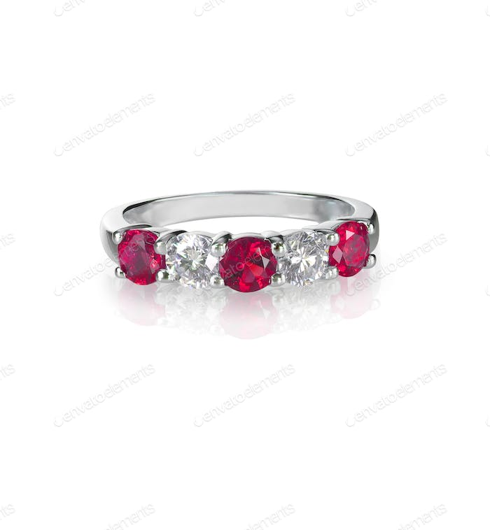 Ruby and diamond wedding anniversary band ring