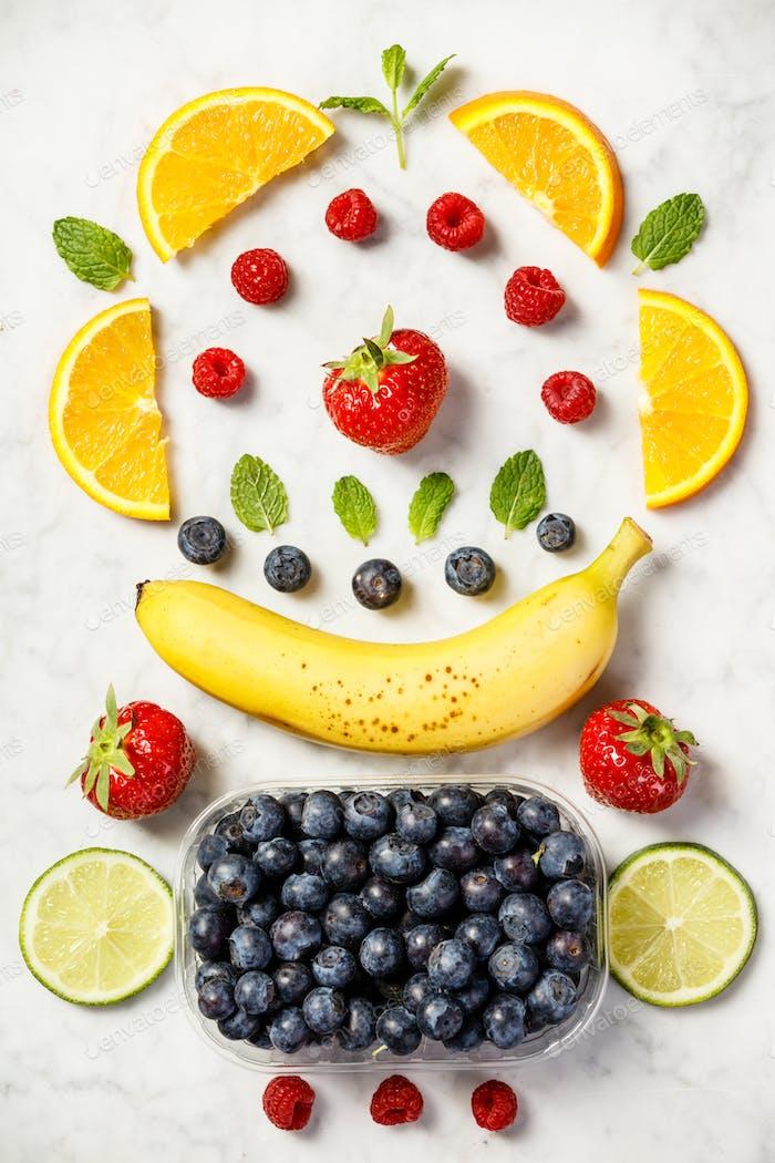 Flat-lay of organic fruits