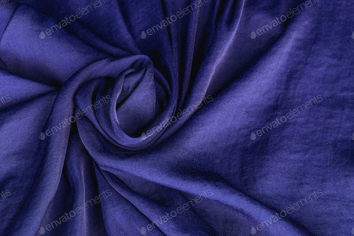 Fabric silk satin color cobalt, classic blue royal.