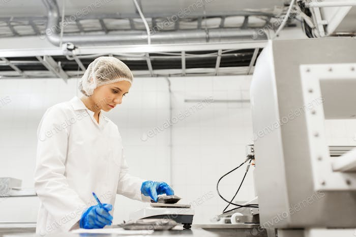 woman working at ice cream factory