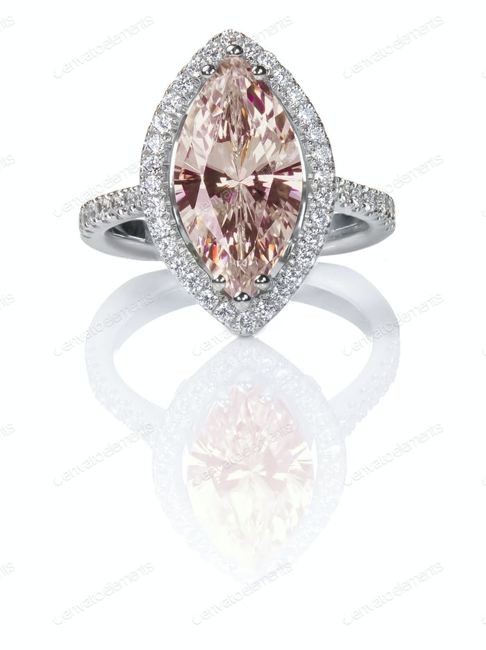 Peach Pink Morganite Beautiful Diamond Engagement ring. Gemstone Marquise cut