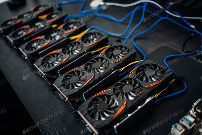 Crypto currency mining components with graphics cards and gpu.