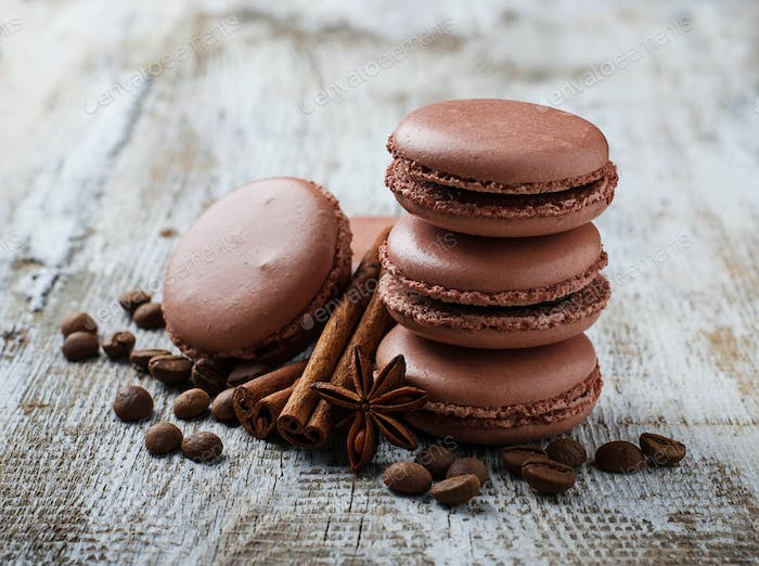 French  macaroons with coffee beans