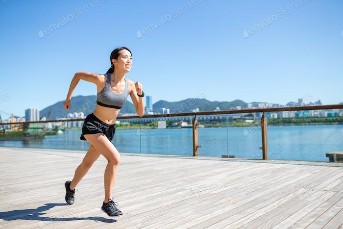 Woman enjoy running at outdoor