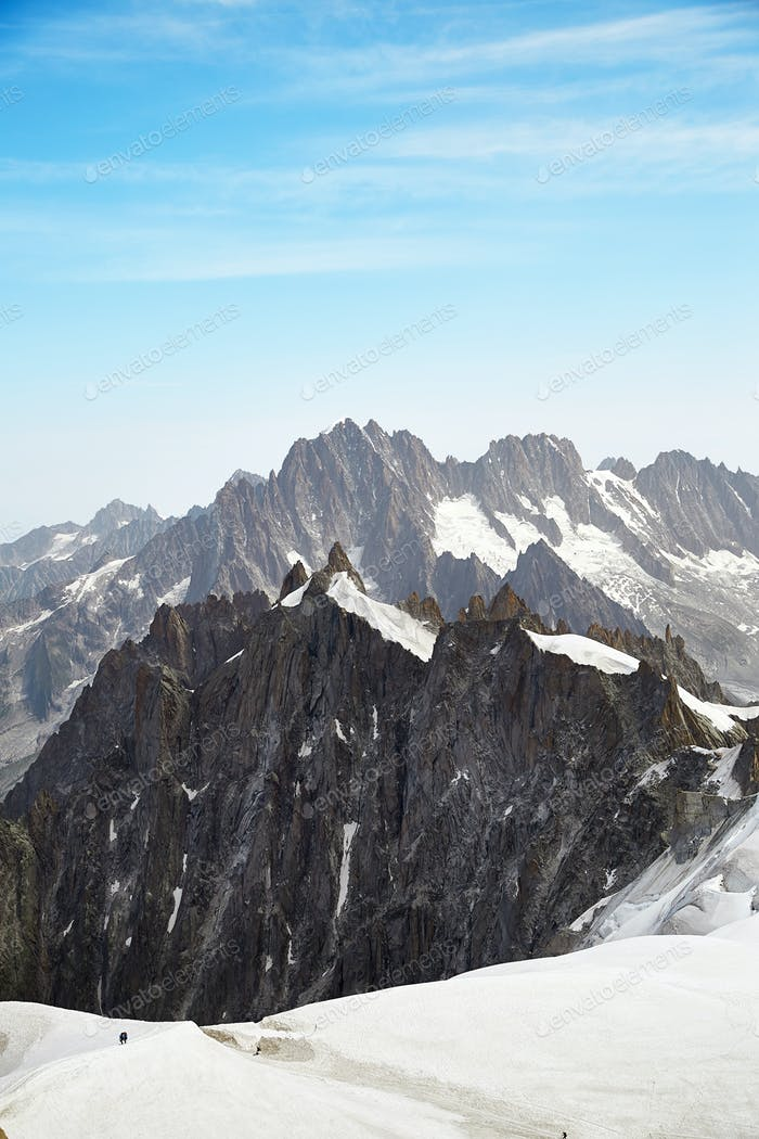 View of Chamonix Mont Blanc Massif, French Alps