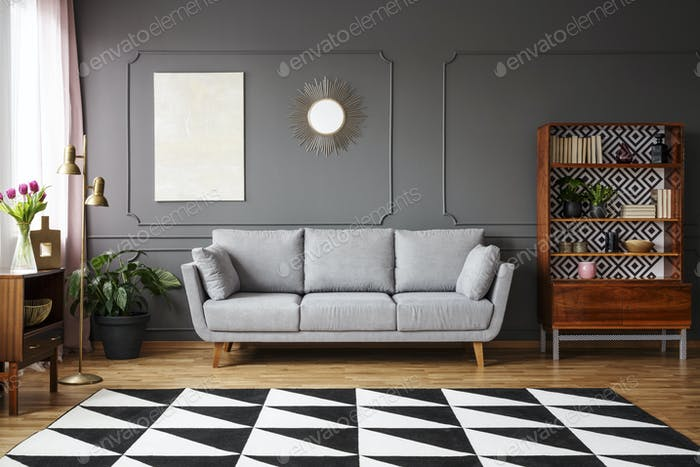 Black And White Carpet With Geometric Pattern Placed On The Floo