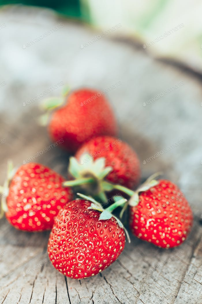 Tasty Beautiful Strawberries. Organic Berries Closeup. Juicy Fre
