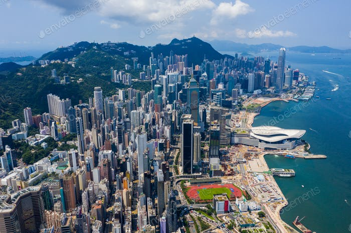 Hong Kong island, Hong Kong 11 September 2019: Top view of Hong Kong city