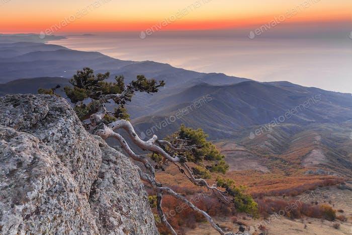 Sonnenuntergang Landschaft auf einem hohen Berg mit Blick auf das Meer und curl
