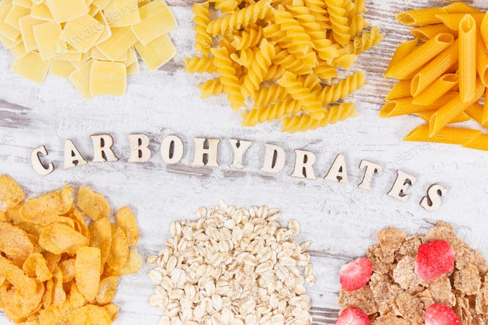 Various mix pasta and healthy products as source carbohydrates and fiber