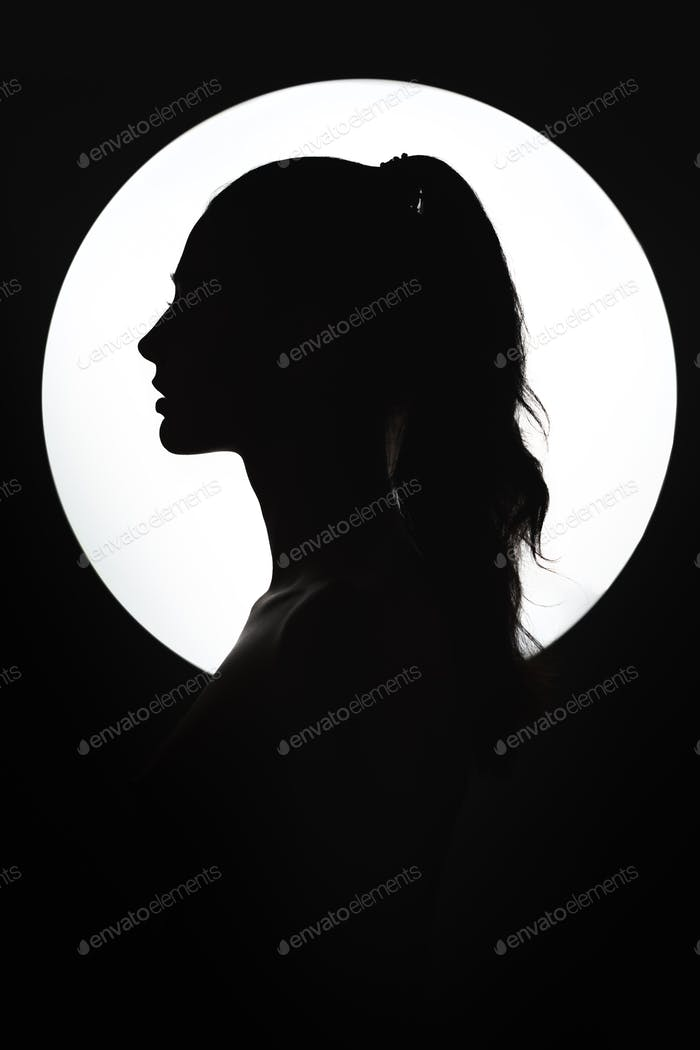 Fine Art Fashion Studio Portrait of Woman at Full Moon