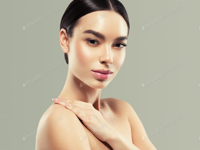 Woman cosmetic closeup beauty portrait with hands, healthy care skin hair over gray color background