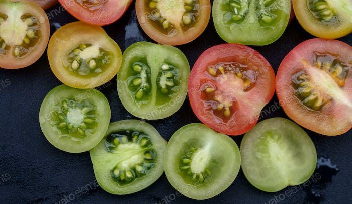 Colorful sliced tomato