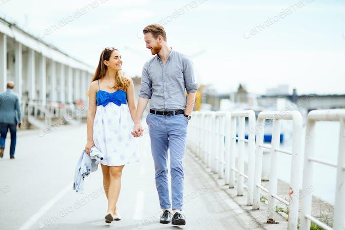 Beautiful couple outdoors