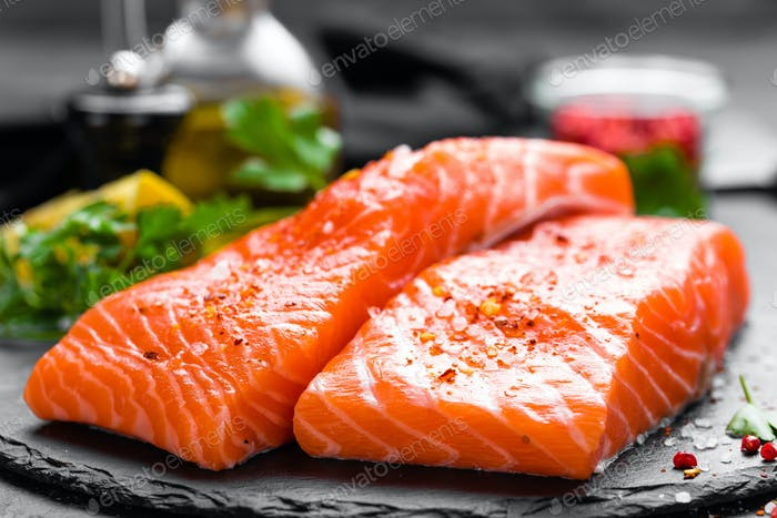 Salmon. Fresh salmon fish. Raw salmon fish fillet