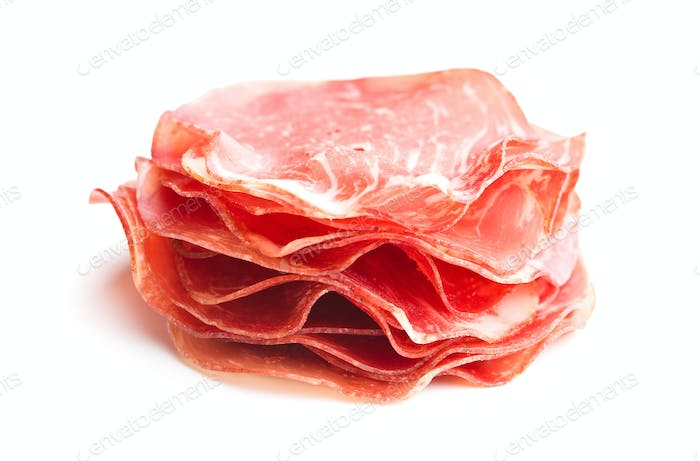 Sliced prosciutto crudo.