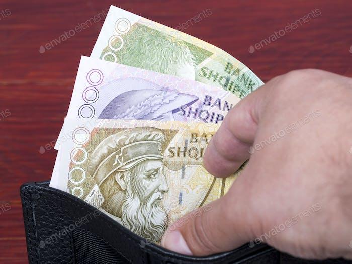 Albanian money in the black wallet