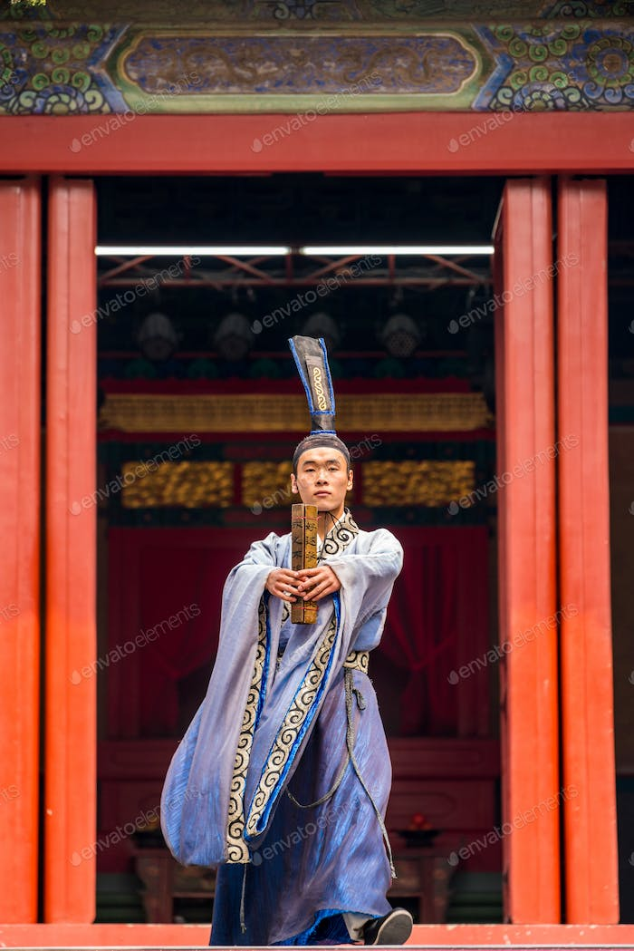 Traditional Chinese theatre performance in temple, Beijing, China