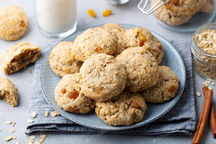 Healthy Vegan Oat Cookies. Grey background. Close up.