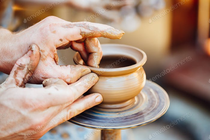 Pottery Craft Wheel Ceramic Clay Potter Human Hand. Process Of C