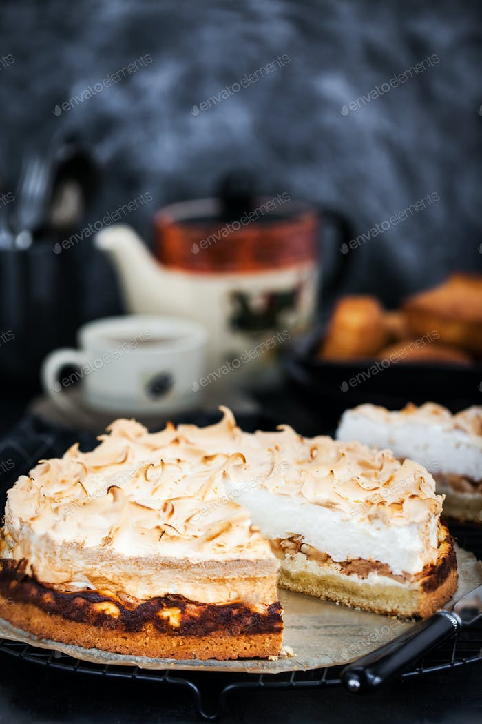 Fresh homemade delicious apple meringue cake