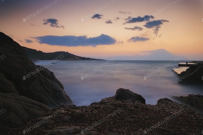 Sunset sea in Greece