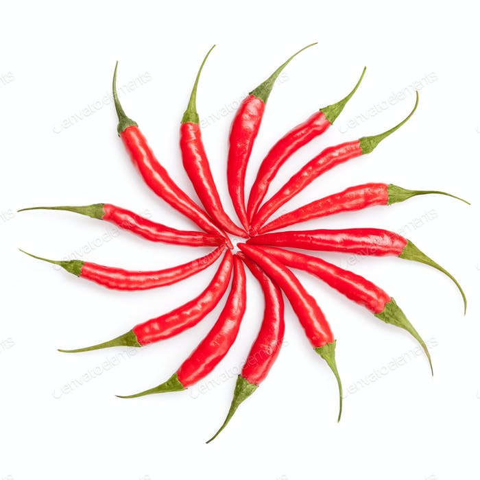 sun from chili peppers isolated on white