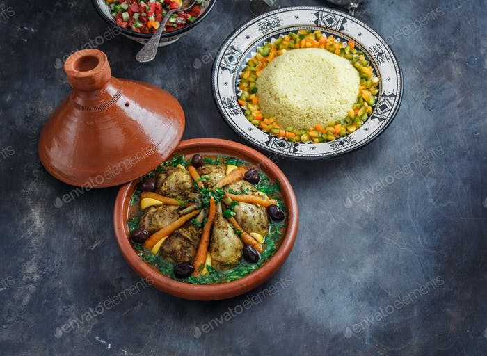 Moroccan tajine with chicken and carrots, copy space