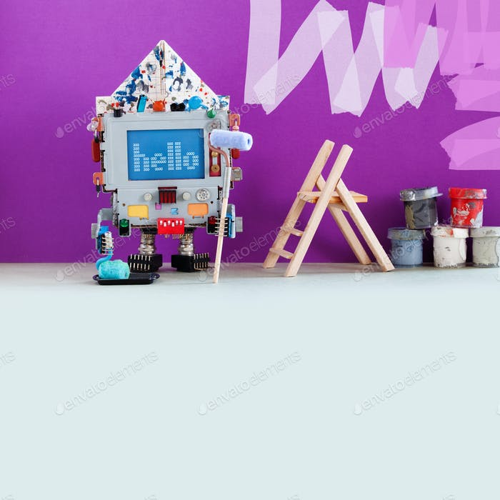 Robotic decorator with paint roller and buckets. Purple colored room wall redecoration. Creative