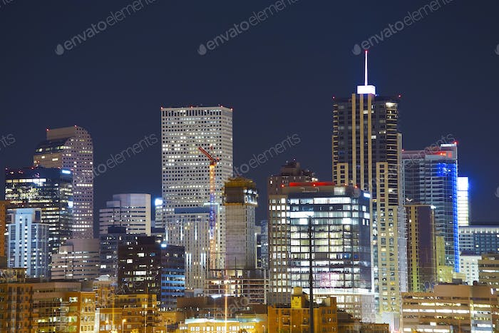 Denver downtown skyline at night, Colorado, USA