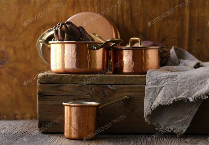 Copper Utensils, Pots, Ladle and Pan