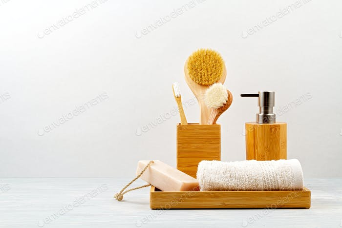 Bamboo acessories for bath - bowl, soap dispenser, brushes, tooth brush, towel and organic dry